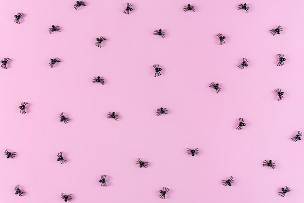 Halloween holiday background with spiders on pastel pink