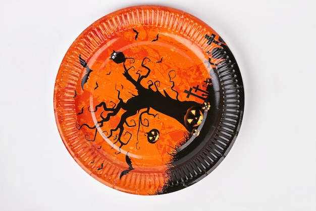 Halloween holiday plate isolated.