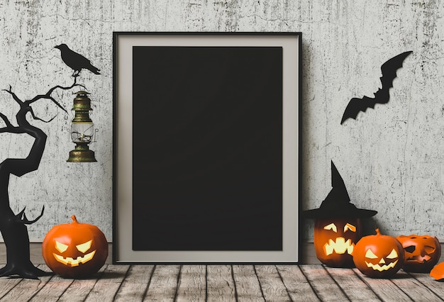 Halloween holiday poster mock up with pumpkin. 3d render