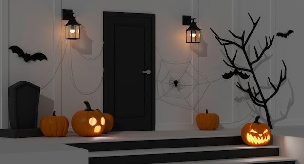カボチャのランプと怖いアイテムが玄関マットの夜の3dレンダリングの前に飾られたハロウィーンの家の装飾