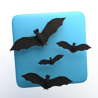 격리 된 흰색 바탕에 박쥐와 할로윈 아이콘입니다. 3d 그림입니다. 앱.