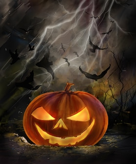 Halloween illustration of spooky pumpkin with bats