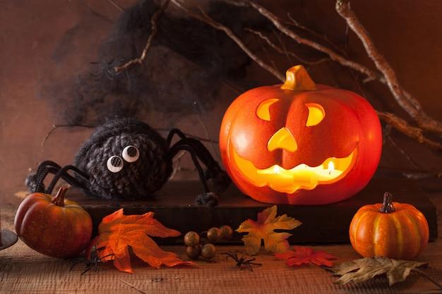 Хэллоуин джек о фонарь тыква украшение пауков свечи