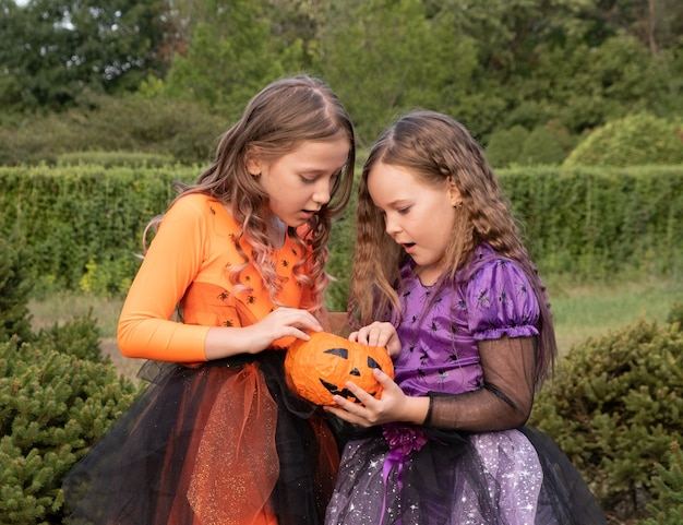 Halloween kid girls costume witches look at halloween candy