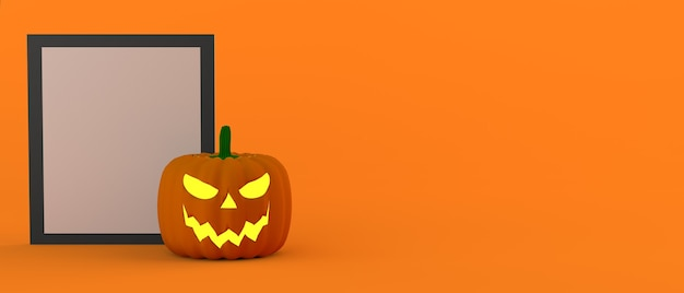 Halloween lantern pumpkin with frame with space for advertising text 3d illustration copy space