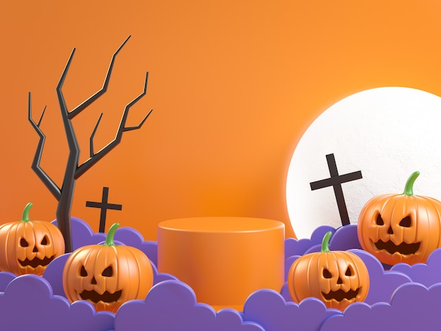 Halloween mockup podium concept pumpkin in the fog 3d render