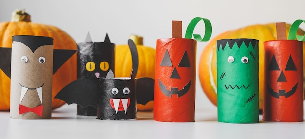 Halloween monsters from toilet paper rolls childrens crafts for halloween