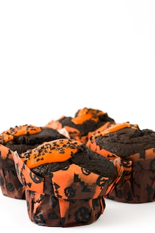 Halloween muffin isolated on white