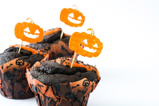 Halloween muffins isolated on white