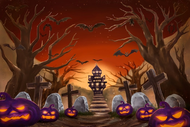 Halloween night background with pumpkin, haunted house and full moon. digital painting illustration
