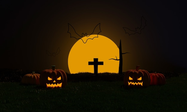 Halloween night background with pumpkins, cemetery and flying bat at moonlight in spooky night. trick or treat party. 3d rendering