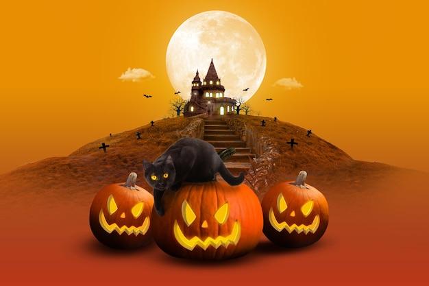 Композиция ночной луны на хэллоуин с призрачной мухой и светящимися тыквами в старинном замке в желтых тонах