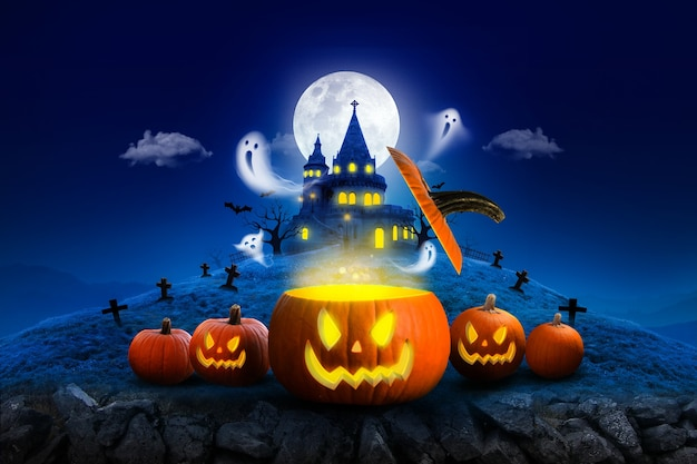 Halloween night moon composition with ghost fly and glowing pumpkins vintage castle  blue tone