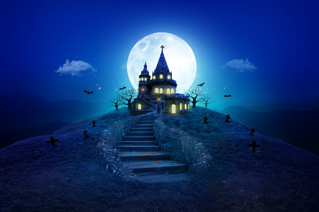 Halloween night moon composition with glowing pumpkins vintage castle and bats flying  blue tone