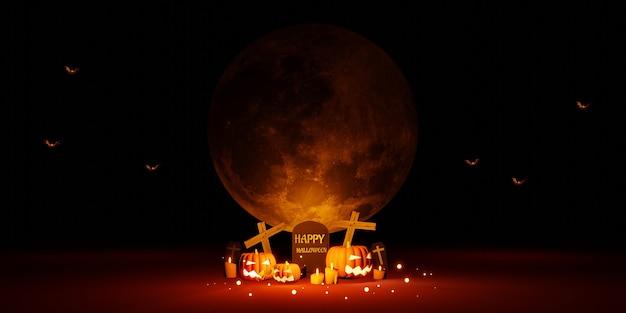 Ночь хэллоуина с днем фестиваля полнолуния фоновое изображение 3d иллюстрации