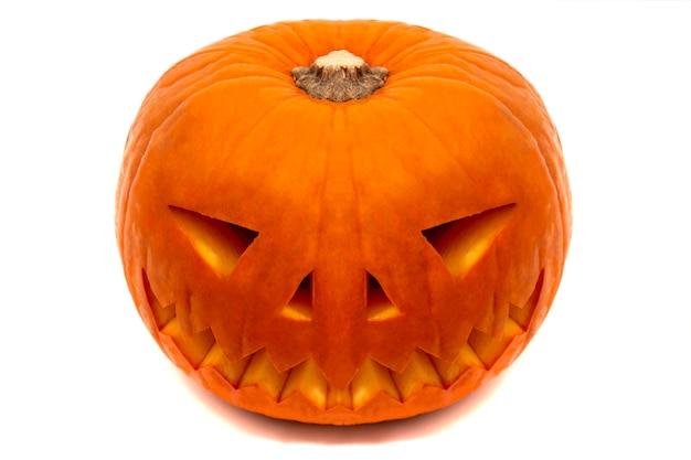 Halloween orange pumpkin with evil smile