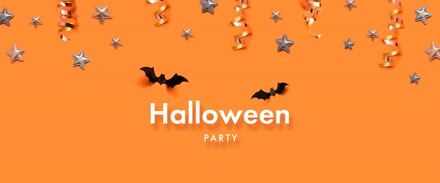 Halloween party banner celebration concept with bats, stars
