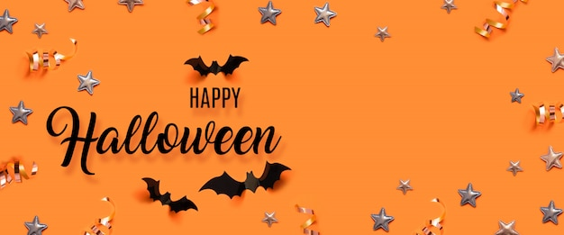 Halloween party celebration concept with bats and stars