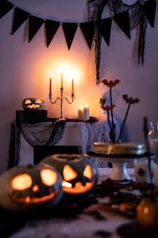 Halloween party decorations on table