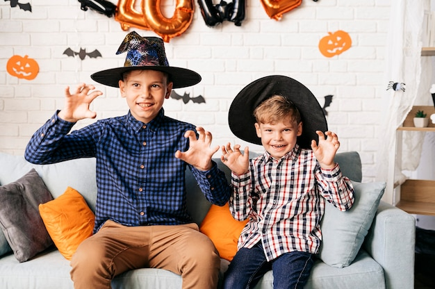 Halloween party and family lifestyle background children enjoy halloween at home