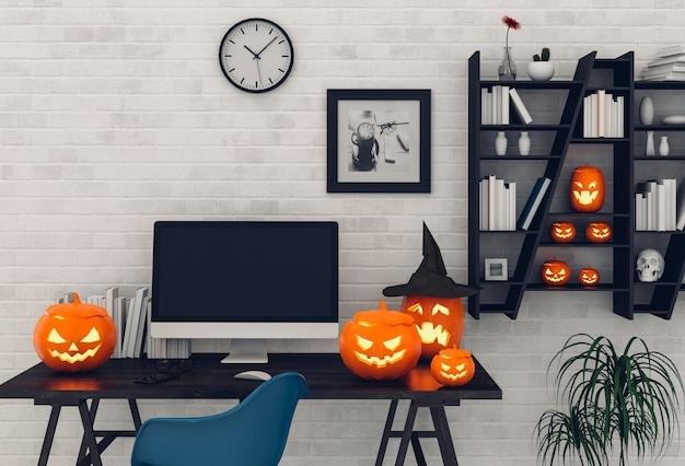 Halloween party interior living room with desktop computer and pumpkins