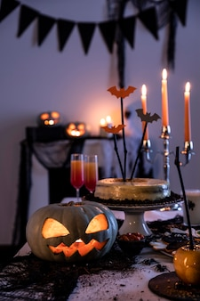 Halloween party ornaments on table