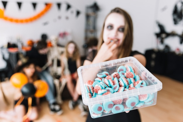 Halloween party with candies
