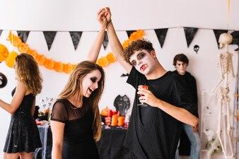 Halloween party with vampires dancing