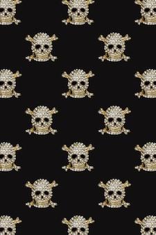 Halloween pattern golden skull with rhinestones on black background happy hallowen holiday concept