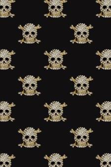 할로윈 패턴 검은 배경에 모조 다이아몬드가 있는 황금 해골 해피 할로윈 휴가 개념