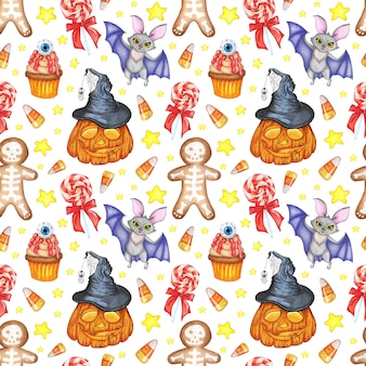 Halloween pattern watercolor illustration seamless repeating print pumpkin bat cookie lollipop