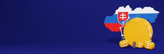 판매를 늘리고 제품 할인을 사용하기 위한 슬로바키아 국가의 할로윈 연단