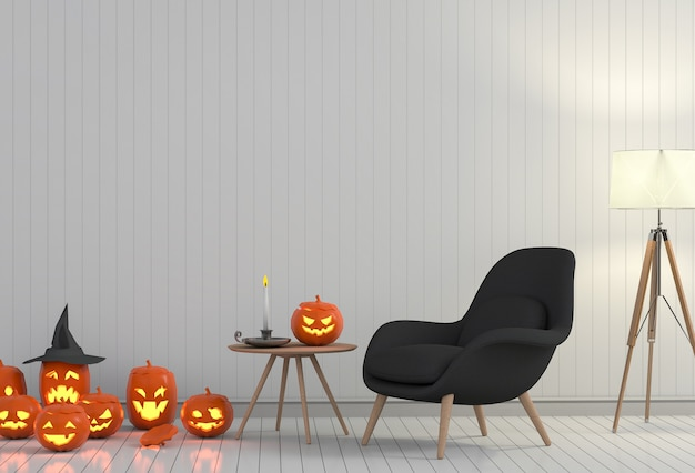 Halloween poster mock up in living room and pumpkin