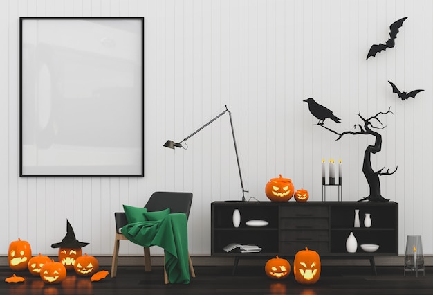 Halloween poster mock up in living room and pumpkins.
