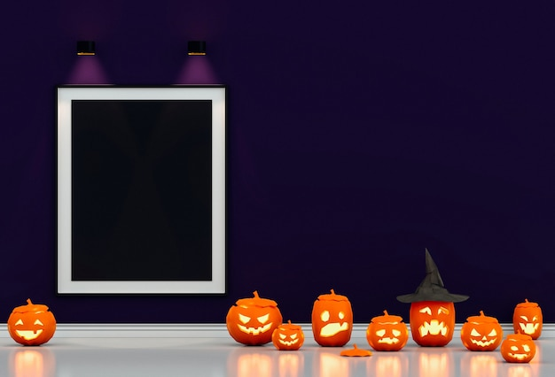 Halloween poster mock up in living room and pumpkins,