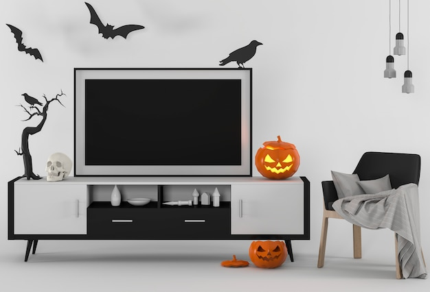 Halloween poster mock up in studio and pumpkins. 3d render