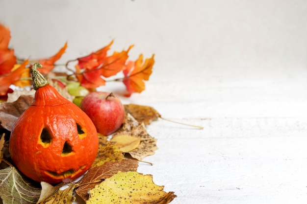 Halloween pumpkin and autumn leaves on white background