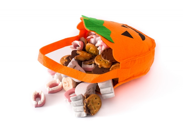 Halloween pumpkin bag with candies inside