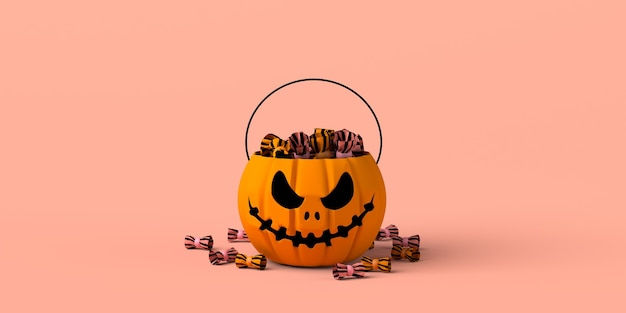 Halloween pumpkin basket with candy. copy space. 3d illustration.