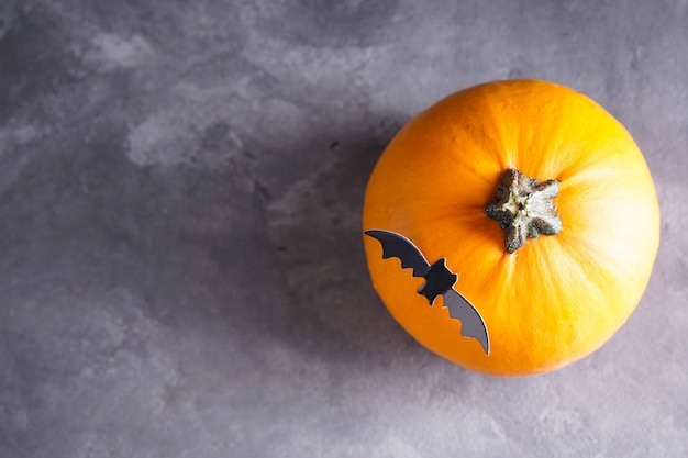 Halloween pumpkin and bat on gray background, space for text. top view.