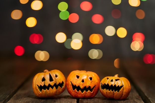 Halloween pumpkin on a bokeh lights background