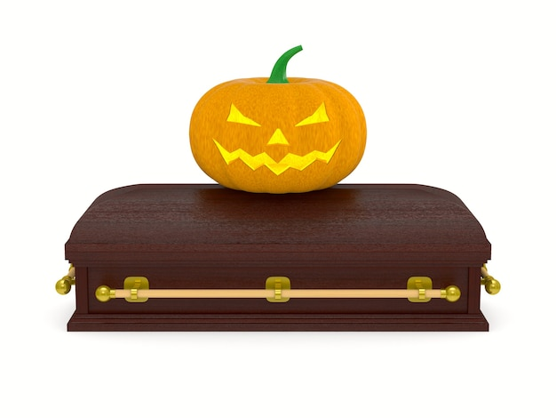 Halloween pumpkin and coffin on white background. isolated 3d illustration