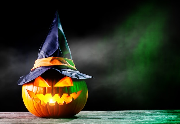 Halloween pumpkin in the dark