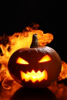 Halloween pumpkin in fire