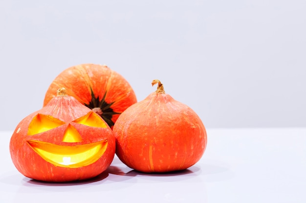 Halloween pumpkin, funny jack o'lantern on white