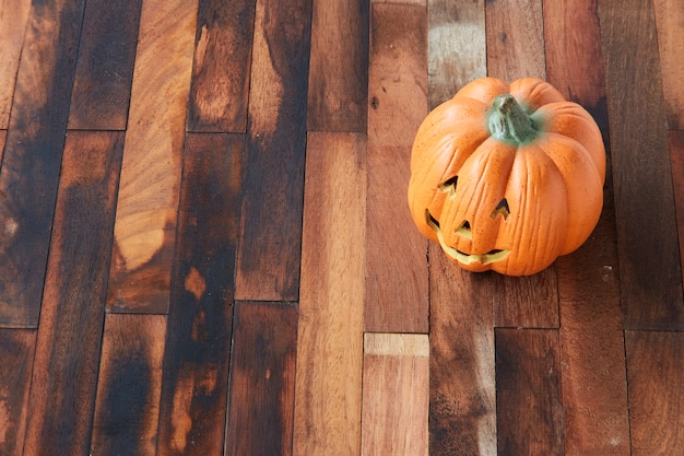 Halloween pumpkin head with copy space
