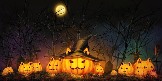 Тыква хэллоуина в ночном лесу.