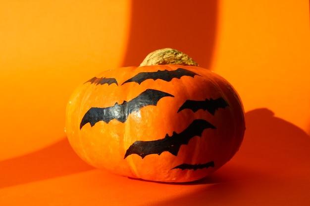Halloween pumpkin isolated on an orange background