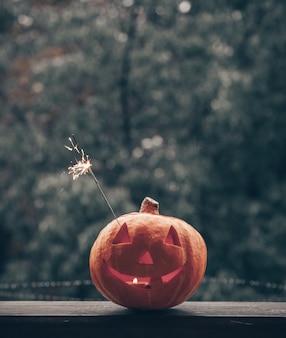 赤い格子縞の居心地の良い窓枠にハロウィーンのカボチャ。まるごとカボチャと線香花火を屋外で。ハッピーハロウィン!秋は心地よいです。外で雨が降ります。