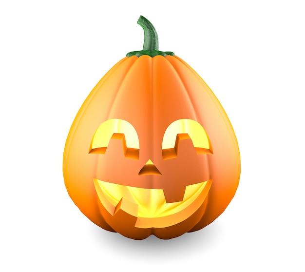 Тыква на хэллоуин. улыбающееся смешное лицо. изолированные на белом фоне.